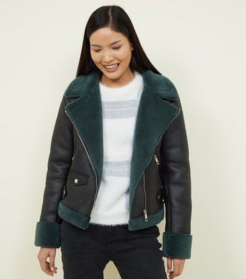 Green Faux Shearling Aviator Jacket