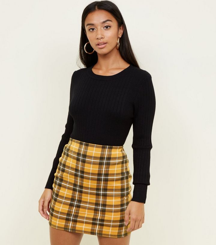 8b1a9bd7d7 Petite Yellow Check Tube Skirt | New Look