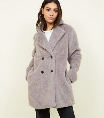 Grey Fluffy Faux Fur Double Breasted Coat