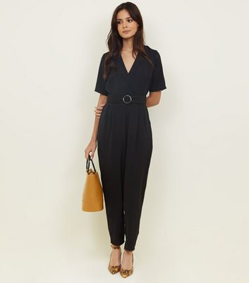 Black Collared Herrinbone Wrap Front Jumpsuit