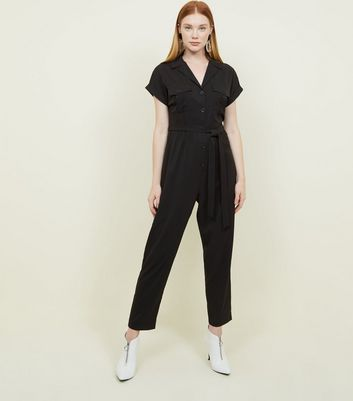 Black Twill Button Front Utility Jumpsuit