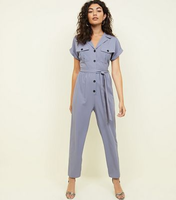 Grey Twill Button Front Utility Jumpsuit