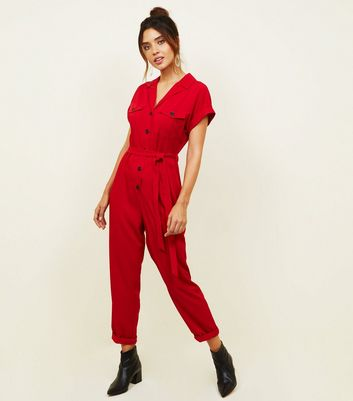 Red Twill Button Front Utility Jumpsuit