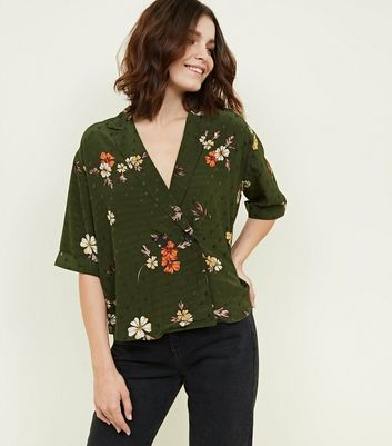 Green Floral Print Jacquard Double Breasted Shirt