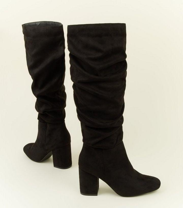 4ec655e8e963 ... Black Extra Calf Fit Suedette Ruched Block Heel Boots. ×. ×. ×. Shop  the look