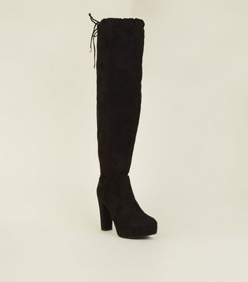 Wide Fit Black Suedette Over-The-Knee Platform Boots