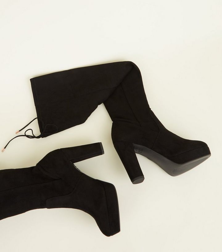 fb21c399119 Wide Fit Black Suedette Over-The-Knee Platform Boots Add to Saved Items  Remove from Saved Items