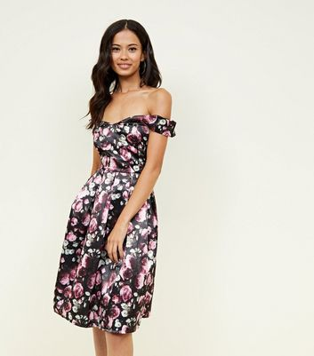 Mela Black Floral Bardot Prom Dress