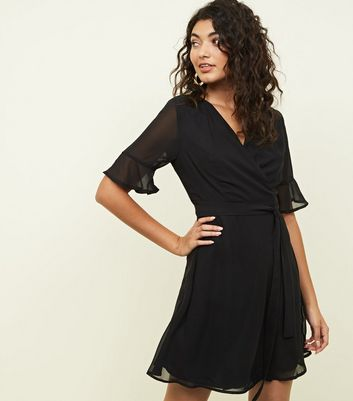 Mela Black Sheer Bell Sleeve Wrap Mini Dress