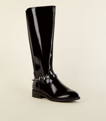 Wide Fit Black Patent Knee High Flat Boots