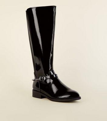 Wide Fit Black Patent Knee High Flat