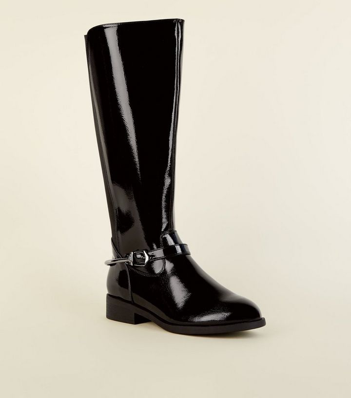 02dfb744ebe Wide Fit Black Patent Knee High Flat Boots | New Look
