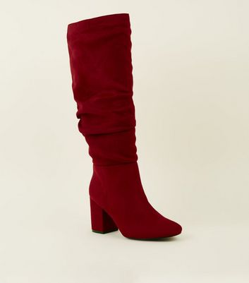 Wide Fit Red Ruched Block Heel Knee High Boots