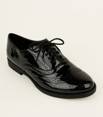 Wide Fit Black Patent Lace Up Brogues