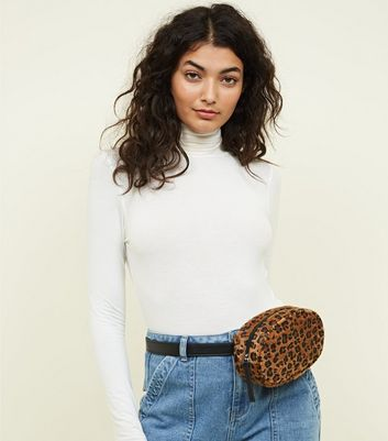 Tan Faux Leopard Fur Round Bum Bag