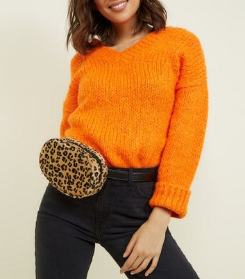 Brown Faux Leopard Fur Round Bum Bag