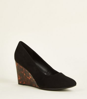 Wide Fit Black Suedette Faux Tortoiseshell Wedges