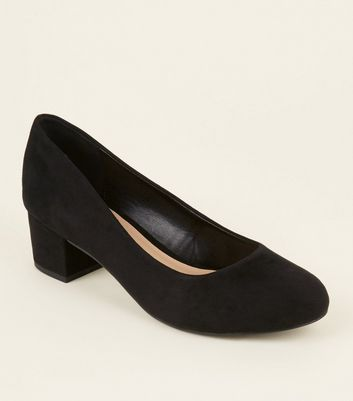 Extra Wide Fit Black Suedette Low Block Heel Courts