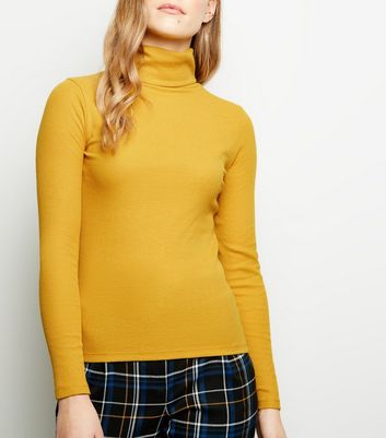 Petite Yellow Rib Roll Neck Top
