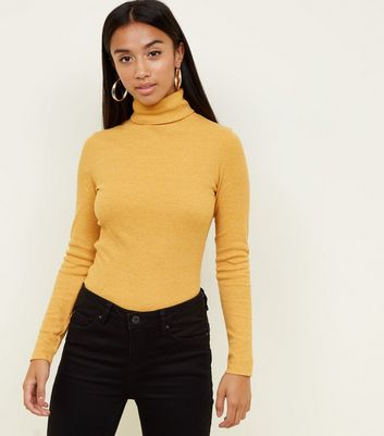 Petite Mustard Rib Roll Neck Top
