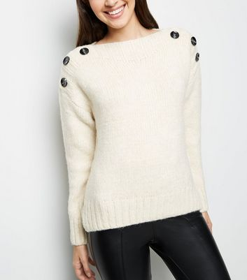 Cream Button Shoulder Jumper