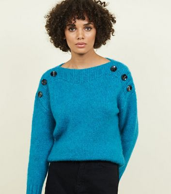 Teal Button Shoulder Jumper