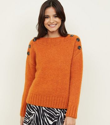 Bright Orange Button Shoulder Jumper