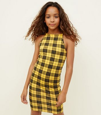 Girls Yellow Check High Neck Bodycon Dress