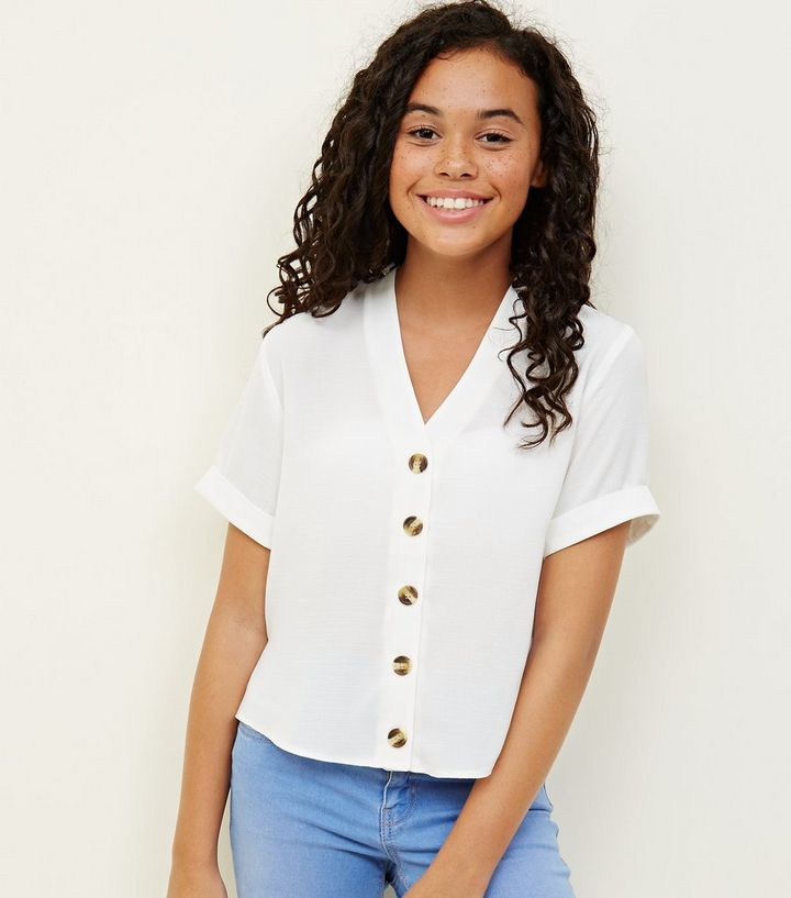 30d409ad Girls White Button Front Boxy Shirt | New Look