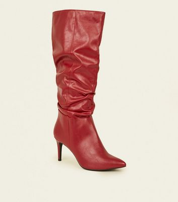 Red Leather-Look Knee High Stiletto Slouch Boots