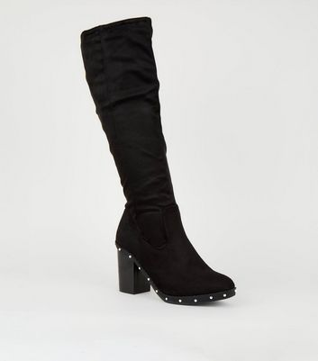 Black Suedette Studded Knee High Boots
