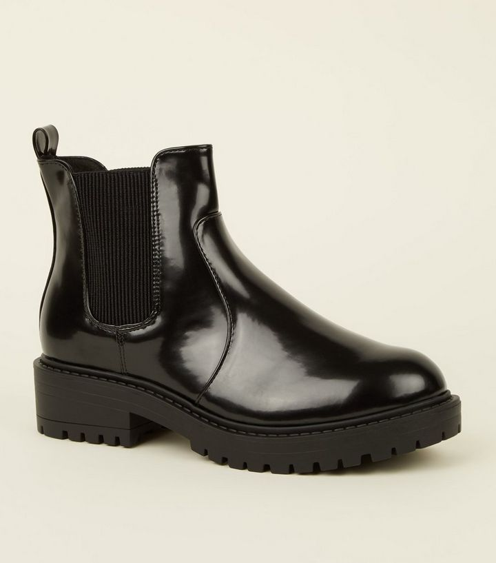 6304768f25ef Black Chunky Cleated Sole Chelsea Boots