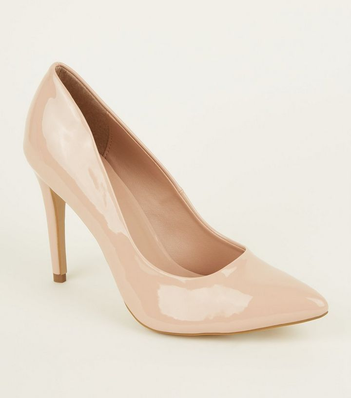 60f31cb8c52a Nude Patent Stiletto Heel Pointed Courts