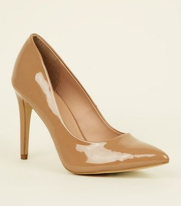 Camel Patent Stiletto Heel Pointed Courts