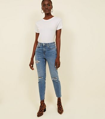 Blue Blue Ripped Thigh Relaxed Skinny Leyla Jeans