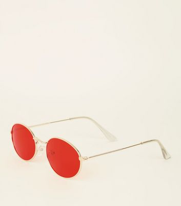 Red Tinted Oval Sunglasses