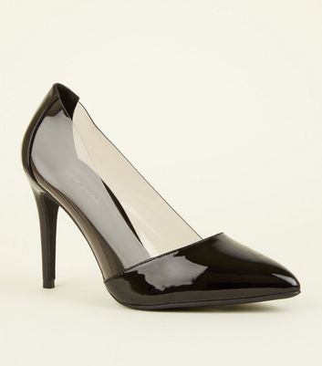 Black Clear Trim Pointed Court Shoes