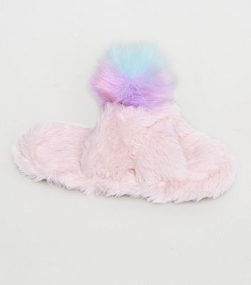 Girls Pink Fluffy Pom Pom Mule Slippers