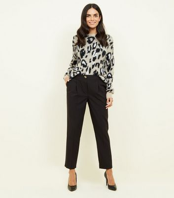 Black Pull On High Waist Tapered Trousers