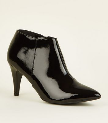 Black Patent Crinkle Cone Heel Shoe Boots