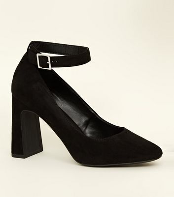 Black Suedette Flared Heel Court Shoes