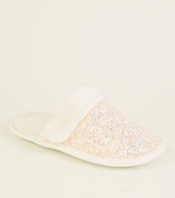 Girls Pink Glitter Faux Fur Trim Slippers by New Look