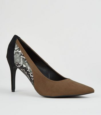 Green Suedette Snake Skin Contrast Heel Courts