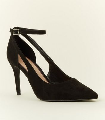 Black Suedette Cut Out Pointed Courts