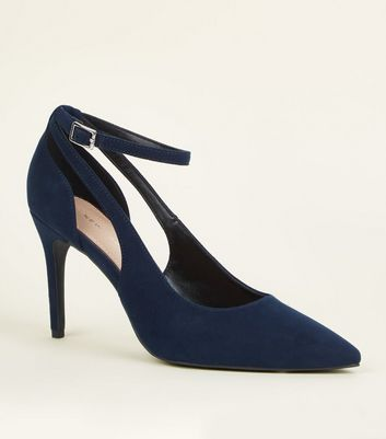 Navy Suedette Cut Out Pointed Courts
