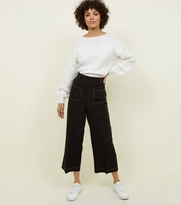 Black Contrast Stitch Patch Pocket Trousers