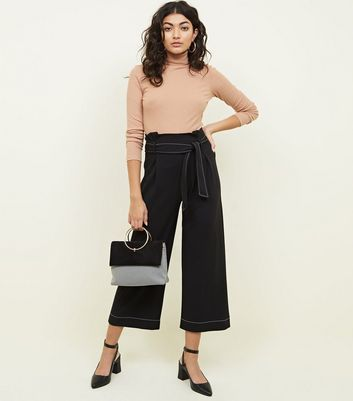Black Contrast Stitch Paperbag Waist Cropped Trousers
