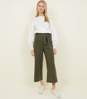 Khaki Contrast Stitch Paperbag Cropped Trousers