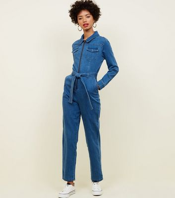 Blue Ring Zip Front Lightweight Denim Jumpsuit