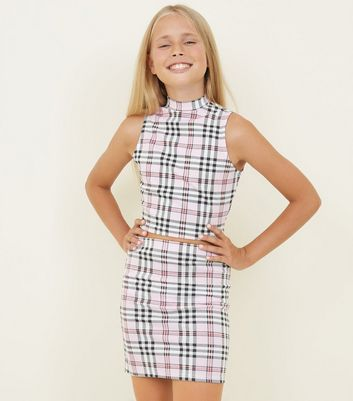 Girls Pink Check Print Tube Skirt